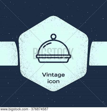 Grunge Line Covered With A Tray Of Food Icon Isolated On Blue Background. Tray And Lid. Restaurant C
