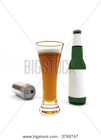 Beer Bottle With Blank Label And Beer In Glass