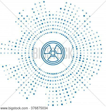 Blue Line Radioactive Icon Isolated On White Background. Radioactive Toxic Symbol. Radiation Hazard