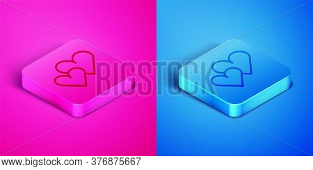 Isometric Line Heart Icon Isolated On Pink And Blue Background. Romantic Symbol Linked, Join, Passio