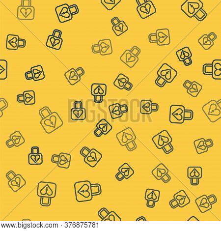Blue Line Lock And Heart Icon Isolated Seamless Pattern On Yellow Background. Locked Heart. Love Sym