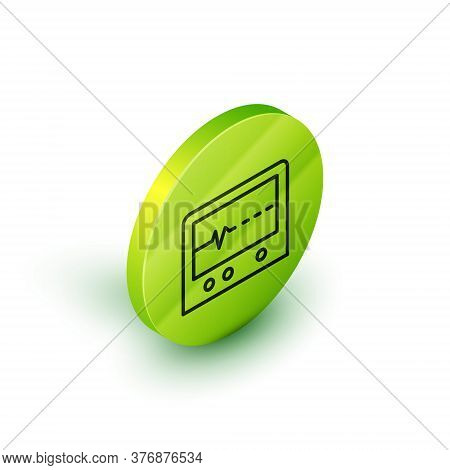 Isometric Line Beat Dead In Monitor Icon Isolated On White Background. Ecg Showing Death. Green Circ