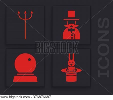 Set Magician Hat And Rabbit, Neptune Trident, Magician And Magic Ball Icon. Vector
