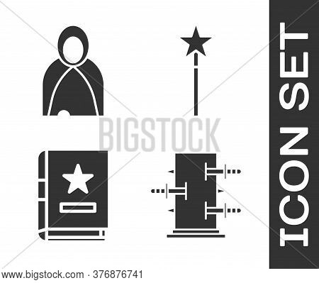 Set Trunk For Magic Tricks, Mantle, Cloak, Cape, Ancient Magic Book And Magic Wand Icon. Vector