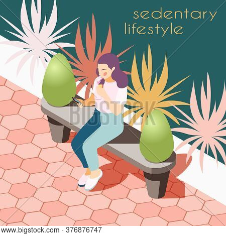 Sedentary Lifestyle Isometric Background With View Of Park Way With Bench And Sitting Female Human C