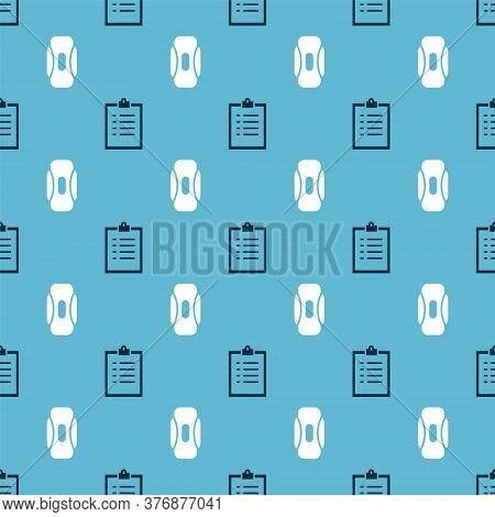 Set Clipboard With Checklist And Sanitary Napkin On Seamless Pattern. Vector
