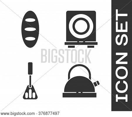 Set Kettle With Handle, Bread Loaf, Spatula And Electric Stove Icon. Vector