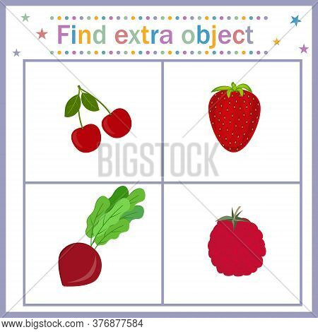 Map For The Development Of Children, Find An Extra Object Where A Vegetable Among The Berries, Beets