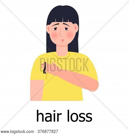 Hair Loss Icon Vector. Unhappy Girl Loses Her Hair, Goes Bald. Problems With The Hair Bulbs.