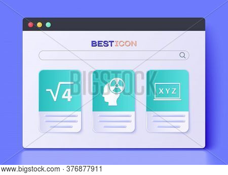 Set Head And Radiation Symbol, Square Root Of 4 Glyph And Xyz Coordinate System Icon. Vector