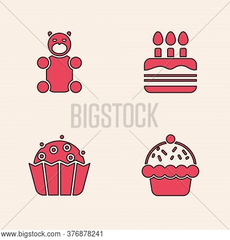 Set Cupcake, Jelly Bear Candy, Cake With Burning Candles And Icon. Vector