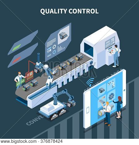Smart Industry Intelligent Manufacturing Isometric Composition With Text And Automatic Assembly Line