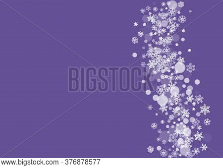 Snowflake Border With Ultraviolet Snow. New Year Backdrop. Winter Frame For Flyer, Gift Card, Party