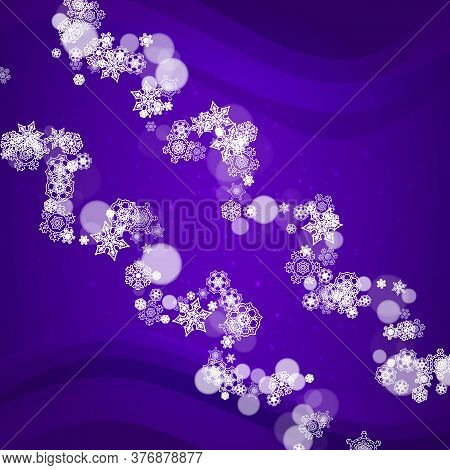 Xmas Sales With Ultra Violet Snowflakes. New Year Snowy Backdrop. Winter Border For Gift Coupons, Vo