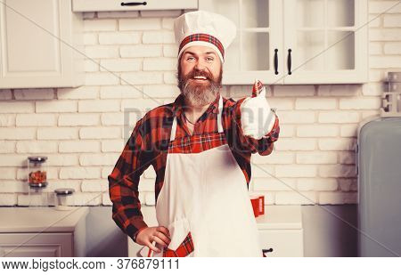 Bearded Chef, Cook, Baker Gesturing Excellent. Chef In White Hat And Apron With Perfect Sign.