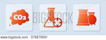 Set Antifreeze Test Tube, Co2 Emissions In Cloud And Oil And Gas Industrial Factory Building. White