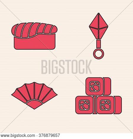 Set Sushi, Sushi, Japanese Ninja Shuriken And Paper Chinese Or Japanese Folding Fan Icon. Vector