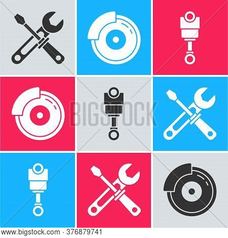 Set Screwdriver And Wrench Tools, Car Brake Disk With Caliper And Engine Piston Icon. Vector
