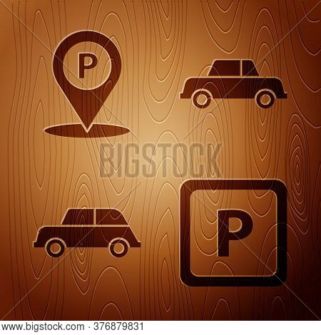 Set Parking, Location With Parking, Car And Car On Wooden Background. Vector