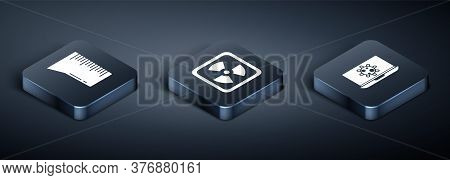 Set Isometric Laboratory Glassware Or Beaker, Bacteria On Laptop And Radioactive Icon. Vector