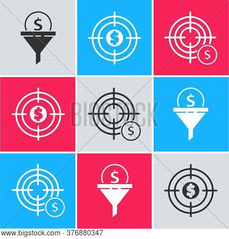 Set Lead Management, Target With Dollar And Target With Dollar Symbol Icon. Vector