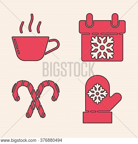 Set Christmas Mitten, Coffee Cup, Calendar And Christmas Candy Cane With Stripes Icon. Vector
