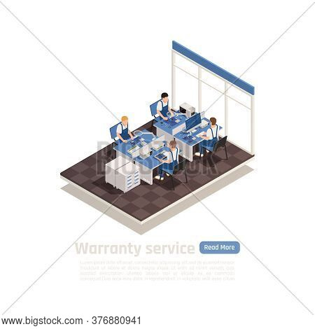 Warranty Service Isometric Vector Illustration With Expert Group In Office Interior Working With Dam