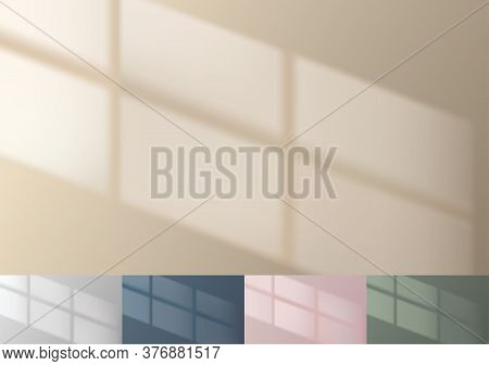 Window Reflection On Beige Wall. Realistic Minimal Background. Real Life Shadow. Wallpaper Template.