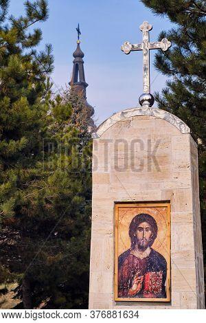 Fruska Gora, Vojvodina / Serbia - January 26, 2020: Sisatovac Monastery (Šišatovac), Serbian Orthodo