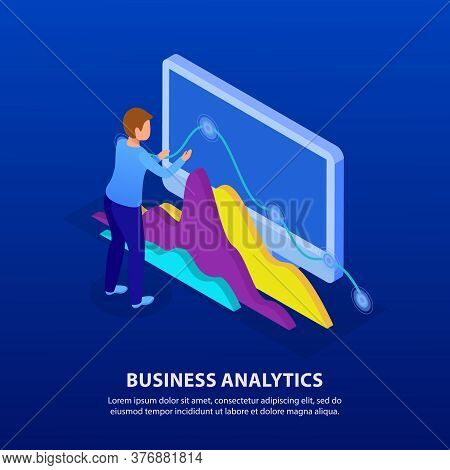 Business Analytics Glow Isometric Background Composition With Expert Analyzing Trends Digital Data S