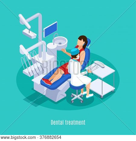 Dentistry Dental Oral Medicine Practice Isometric Composition With Female Patient Checkup Treatment