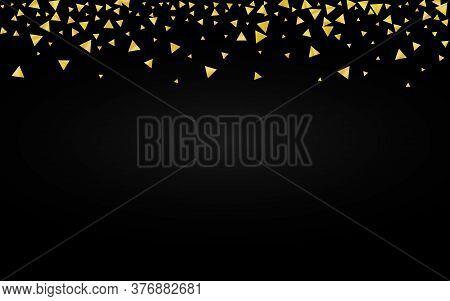 Yellow Shards Festive Black Background. Glamour Rain Design. Gold Shard Abstract Backdrop. Shine Gol