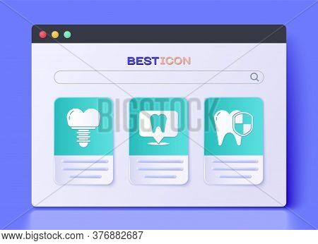 Set Dental Clinic Location, Dental Implant And Dental Protection Icon. Vector