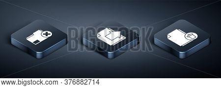Set Isometric Delete Folder, Delete File Document And Next Page Arrow Icon. Vector
