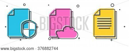 Set Document Protection Concept, Cloud Storage Text Document And Document Icon. Vector