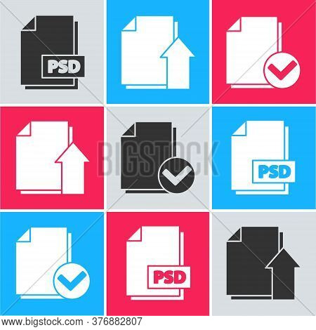 Set Psd File Document, Upload File Document And Document And Check Mark Icon. Vector