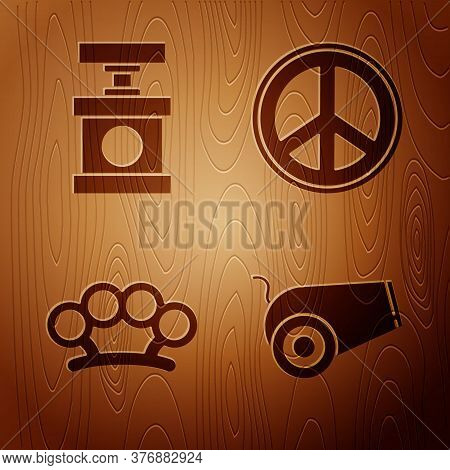 Set Cannon, Handle Detonator For Dynamite, Brass Knuckles And Peace On Wooden Background. Vector