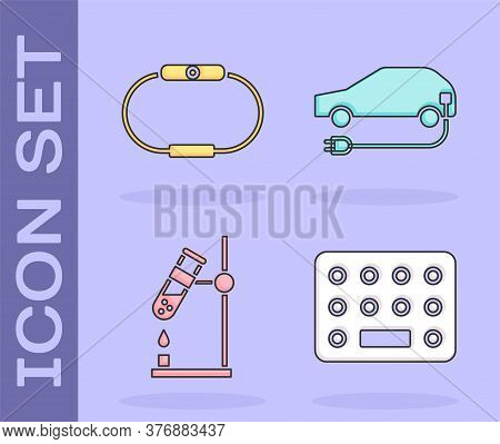 Set Pills In Blister Pack, Smartwatch, Test Tube Flask On Fire And Electric Car Icon. Vector