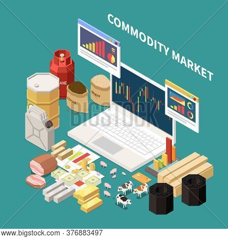 Commodity Isometric Composition With Images Of Laptop With Graphs And Various Objects Related To Dif