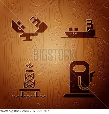Set Petrol Or Gas Station, Wrecked Oil Tanker Ship, Oil Rig With Fire And Oil Tanker Ship On Wooden