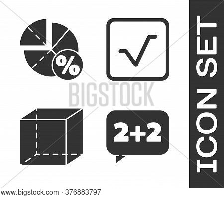 Set Equation Solution, Graph, Schedule, Chart, Diagram, Geometric Figure Cube And Square Root Icon.
