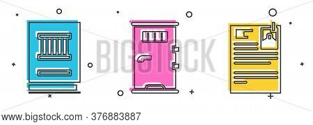 Set Law Book, Prison Cell Door And Lawsuit Paper Icon. Vector