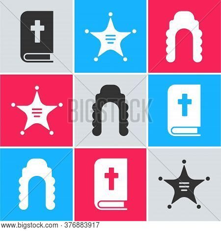 Set Holy Bible Book, Hexagram Sheriff And Judge Wig Icon. Vector