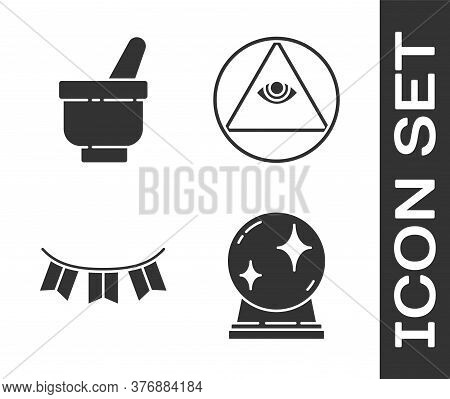 Set Magic Ball, Magic Mortar And Pestle, Carnival Garland With Flags And Masons Icon. Vector