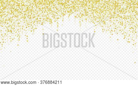 Gold Triangle Rich Transparent Background. Falling Shine Banner. Golden Shard Bridal Postcard. Dust