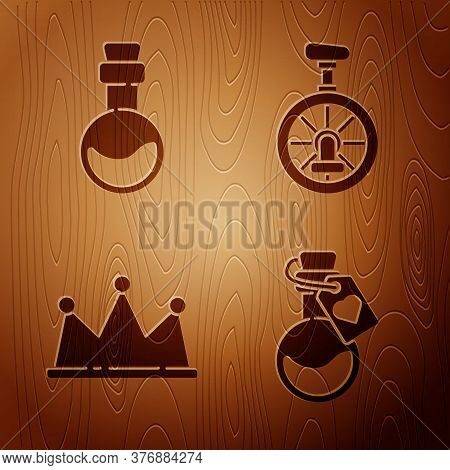 Set Bottle With Love Potion, Bottle With Love Potion, Crown And Unicycle Or One Wheel Bicycle On Woo