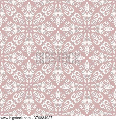 Orient Vector Classic Pattern. Seamless Abstract Pink And White Background With Vintage Elements. Or