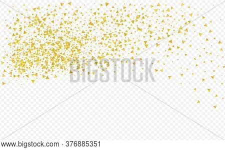Yellow Confetti Golden Transparent Background. Happy Shine Card. Gold Shards Abstract Illustration.