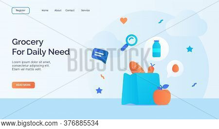 Grocery For Daily Need Icon Campaign For Web Website Home Homepage Landing Template Banner With Cart