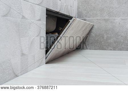 Open Hidden Revision Sanitary Hatch Under The Bathroom